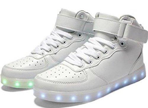 (Présents:petite serviette)JUNGLEST® - 7 Couleur Mode Unisexe Homme Femme USB Charge LED Chaussures Lumière Lumineux Clignotants Chaussures de marche Haut-Dessus LED Ch Blanc