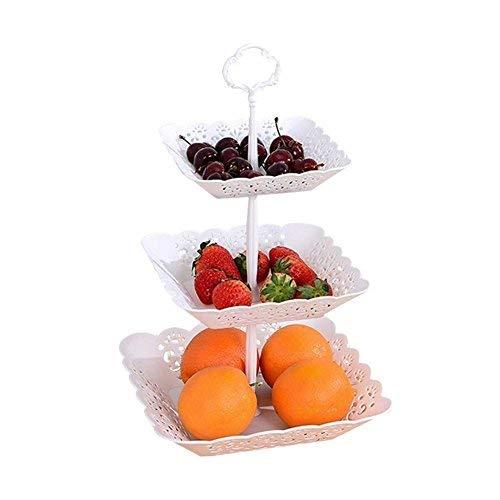 3-Tier-Kuchen Ständer und Obst Teller Cupcake Ständer weiß Kunststoff für Torten Desserts Fruits Candy Buffet Stehen für Hochzeit & Home & Geburtstag Servierplatte Quadratisch (Buffet Stehen Candy)