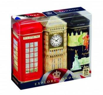 "Inglés Tea ""Explore London–de desayuno Inglés de té, 3x 20bolsas en Londres icónico dinero caja latas"