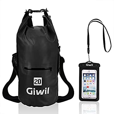 Giwil 20L Premium Waterproof dry Bag, Roll Top Dry Compression Sack with Waterproof Phone dry Bag Case and Dual Long Adjustable Shoulder Strap Included Foldable Backpack for Kayaking Boating Canoeing from Shenzhen Simai Wulian Technology Co., LTD