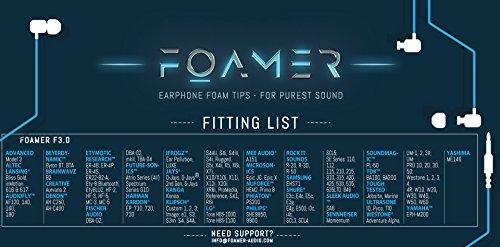 FOAMER F4.9 (L 6) • 6 Paar Noise Cancelling Schaum Ohrpolster für In Ear Kopfhörer • Ersatz für Silikon Ohrhörer Aufsatz • Extra Bass & Klarer Klang • InEar Ohrstöpsel, Memory Foam Earphone Tips - 2
