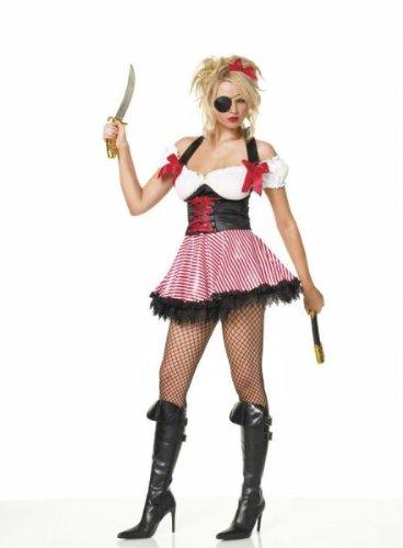Car Sexy Kostüm Race - Leg Avenue, Piratin, Maid Kostüm (XL) (rot/weiß Rock) für Fancy Kleid