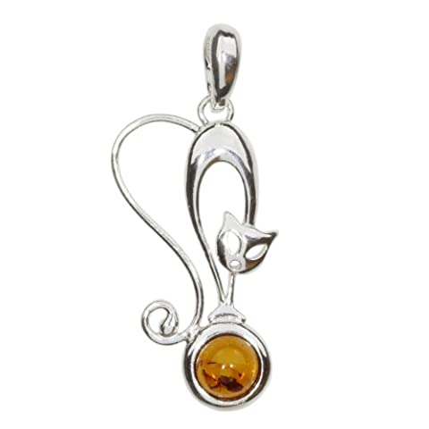 InCollections Women's Pendant 925 Sterling Silver Amber Cat