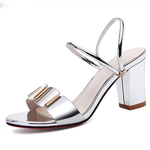 Estate moda donna sandali comodi tacchi alti,37 Beige Silver