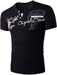 Kobay Lettera di Modo del Mens Button personalità Shirt Manica Corta T-Shirt  Blouse Tops b986103ac4d9
