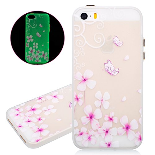ISAKEN Custodia iPhone SE - Cover iPhone 5S - Fashion Agganciabile Luminosa Cover Denso Case con LED Lampeggiante per Apple iPhone 5 5s SE Ultra Slim Sottile TPU Cover Rigida Gel Silicone Protettivo S Fiori farfalle rosa