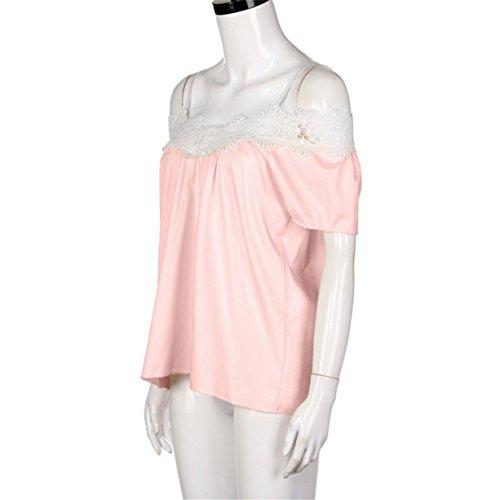 CYBERRY.M Débardeur Femme Fille Été Sans Manches Dentelle Tank Chemise Vest T-shirt Rose