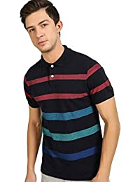 DJ&C by FBB Men's Striped Regular Fit Polo