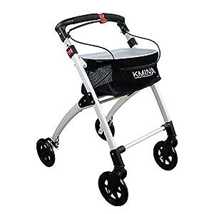 Kmina Rollator, aus Aluminium, leicht, Gehhilfe für Erwachsene, zusammenklappbar, mit 4Rollen, Rollator mit Ablage und Korb, erhältlich in blau oder schwarz