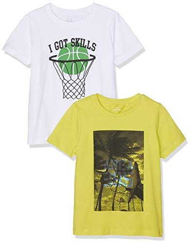 NAME IT Jungen T-Shirt NMMVAGNO 2 P SS Loose TOP D, 2er Pack, Weiß (Bright White), (Herstellergröße: 104) -