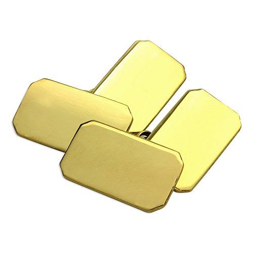 18K Gold Schwer Rechteckig Doppelseitig Gravierbare Manschettenknöpfe