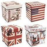 Sterling PORTABLE & FOLDABLE LAUNDRY BOX CUM SITTING STOOL Folding Attractive Prints Pouffe/sitting stool/stool/pouffes for living room/puffy stool (Assorted Designs) 1 Piece