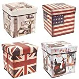 #10: Sterling PORTABLE & FOLDABLE LAUNDRY BOX CUM SITTING STOOL Folding Attractive Prints Pouffe/sitting stool/stool/pouffes for living room/puffy stool (Assorted Designs) 1 Piece