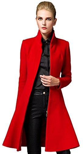 La Vogue-Cappotto Slim Fit da Donna Cappotto Lungo Busto 104cm Rosso