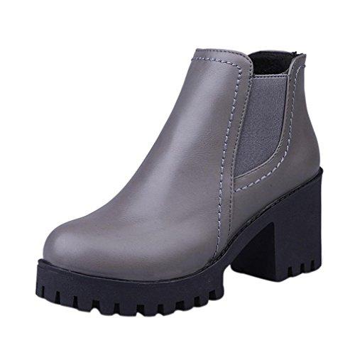 Frauen Reißverschluss Martin Stiefel Outfit Winter Dick rutschfeste Stiefel US:6.5 grau (Akzent-stiefel)