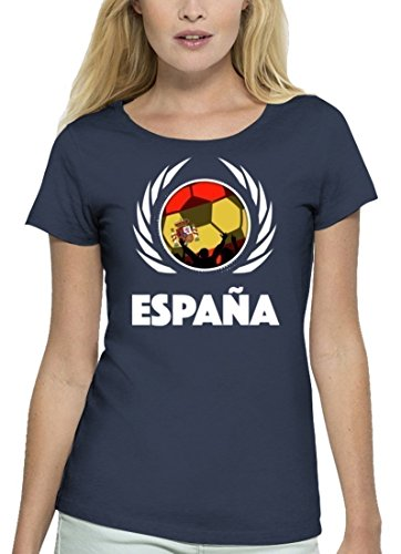 ShirtStreet Espana Spain Fussball WM Premium Fanfest Damen T-Shirt Bio Baumwolle Stanley Stella Fußball Spanien Navy