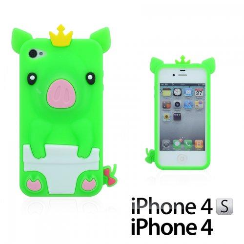 OBiDi - 3D Porcin Coque en Silicone / Housse pour Apple iPhone 4S / Apple iPhone 4 - Hot Pink avec 3 Film de Protection et Stylet Vert