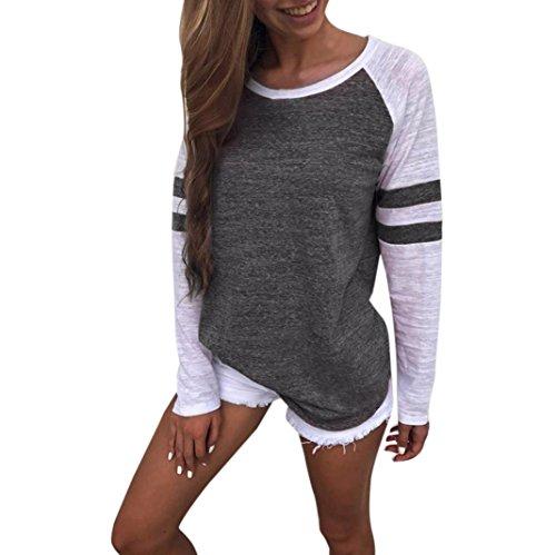OVERDOSE Mode Damen Frauen Rundhals Lange Hülsen Spleiß Blusen Oberseiten Kleidung T-Shirt Tops Pullover (S, Dark (Top Teenager Mädchen Kostüm)