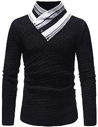 Manga Larga de los Hombres Otoño Invierno Empalme la Camiseta Ocasional Blusa Superior Jersey Knit por
