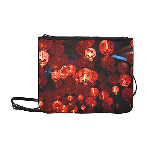 WOCNEMP Bunte chinesische rote Laterne Muster benutzerdefinierte hochwertige Nylon dünne Clutch Cross Body Tasche Umhängetasche - Nylon-laternen Japanisch
