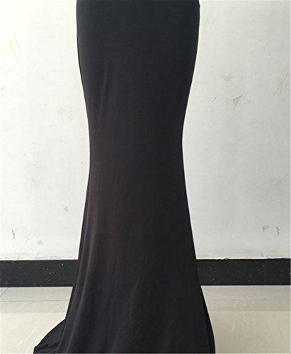 EMIN Damen Abendkleider Festlich Kleider Lang Sommer Kleid Sexy Kleider Kleid Fishtail Rock Schwarz