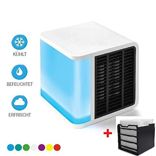 Air Luftkühler Arctic Cool + inkl 1 Ersatzfilter Verdunstungsgerät Lufterfrischer mobiler Luftkühler mit USB Anschluß/ 3 in 1 Air Kühler / 3 Kühlstufen / 7 Stimmungslichter