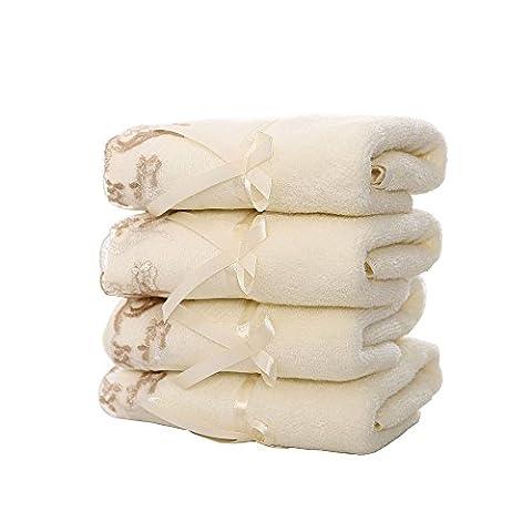 GreForest 4 PCS 100% coton Serviettes naturelles avec bordure en