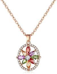 YAZILIND rosa de oro plateado joyería de la boda brillante flor de color cubic zirconia colgante collar de las mujeres collar de cadena