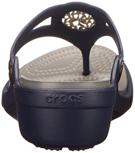 Crocs - - Sanrah Cercle des femmes Wedge flip Navy/Smoke