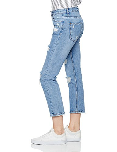 New Look Damen Boyfriend Boyfriend Jeans Extreme Rip, Blue (Mid Blue), Gr. 36 (Herstellergröße: 8) -