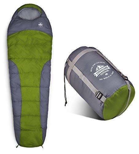 Lumaland Outdoor Schlafsack Mumienschlafsack, 230 x 80 cm, inklusive Packsack, 50 x 25 cm gepackt, Hellgrün
