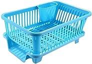 Ashoka's Mart 3 in 1 Large Durable Plastic Kitchen Sink Dish Rack Drainer Drying Rack Washing Basket with