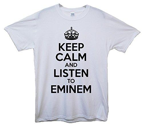 Eminem T-shirt Für Mädchen (Keep Calm and Listen To Eminem T-Shirt - Weiß - 12/13 Jahre)