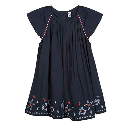 3 pommes Baby-Mädchen 3n30042 04 Dress Kleid, Blau (Marine Blue, 3-6 Monate (Herstellergröße: 3/6M)
