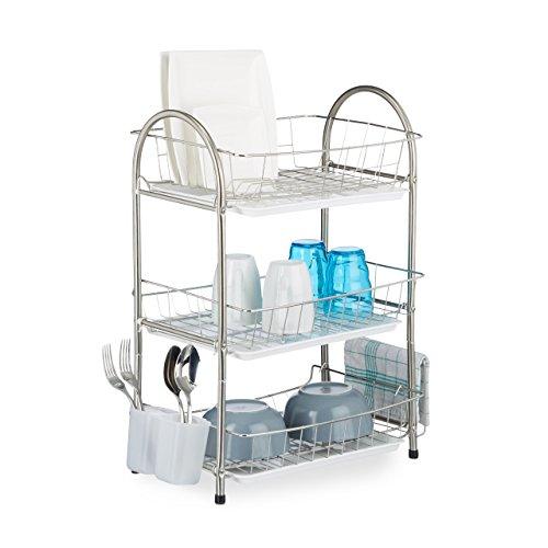 Relaxdays Egouttoir à vaisselle 3 étages porte couvert inox grille assiette HxlxP: 58 x 49 x 22 cm- argenté