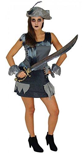 Damen Piraten Gespenst Kostüm - Foxxeo Geister Piraten Kostüm für Damen zu Fasching Karneval Halloween mit Piratenhut Piratenkleid und Stulpen Größe L
