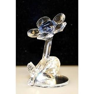 blau und klarer Bunt Kristall Blume Ornament auf Spiegel Sammelobjekt Geschenk AWD