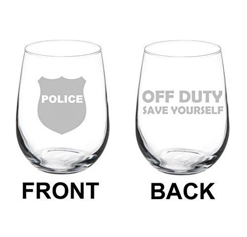 Verre de vin Goblet deux Face officier de police COP Off Duty Save Yourself (311,8 gram sans pied)