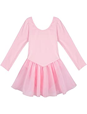 iiniim Niñas Maillot Vestido de Danza Ballet Elástico Ballet Niña Tutú de Algodón Gasa Mangas Largas para Niñas...