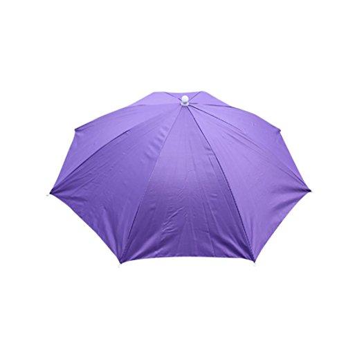 (Draussen Faltbar Sonnenschirm Hut Kopfbedeckung Kappe Kopf Hut Regenschirm Hut Neuheit nach Kostüm hut Ladies Mens Multi Color Festival hat für Golf Angeln Camping Outdoor Sun Regenkappe (Lila))