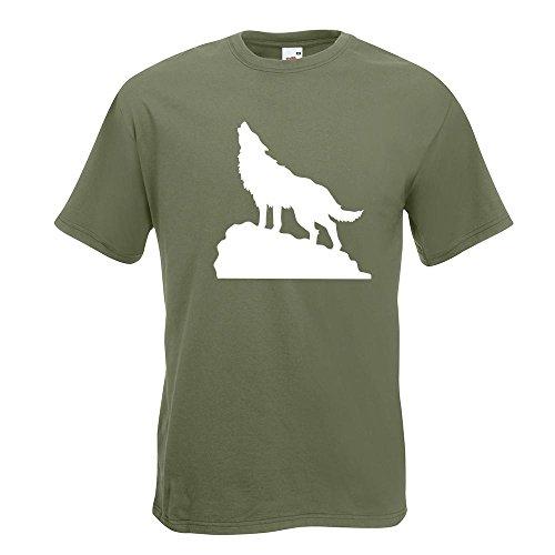 KIWISTAR - heulender Wolf auf Fels T-Shirt in 15 verschiedenen Farben - Herren Funshirt bedruckt Design Sprüche Spruch Motive Oberteil Baumwolle Print Größe S M L XL XXL Olive