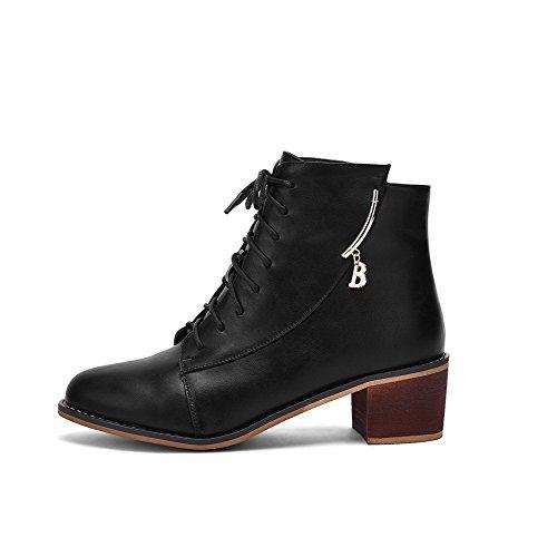 AllhqFashion Damen Reißverschluss Rund Zehe Niedrig-Spitze Stiefel mit Anhänger Schwarz