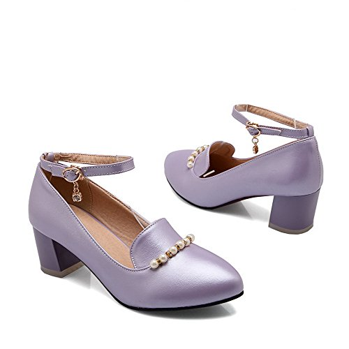 AllhqFashion Femme Fermeture D'Orteil Pointu à Talon Correct Couleur Unie Boucle Chaussures Légeres Violet