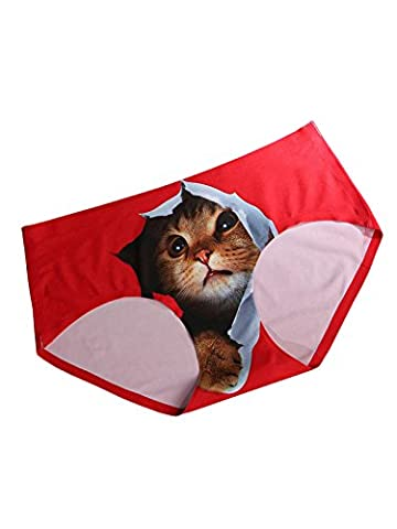 FasiCat Panties Underwear Women Girl Sexy Lingerie for Crotchless Knickers Cute Cat Safty Brief 3D, Red, One