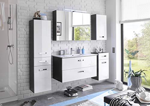 MANHATTAN Badezimmer Set Komplettset Badmöbel Badezimmermöbel Grau / Weiß