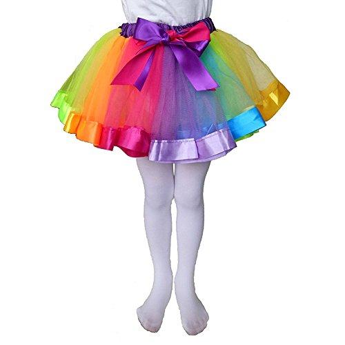 CHIC-CHIC Kids Little Girls Layered Rainbow Tutu Skirt Ballet Dance Party Dress Ruffle Tiered