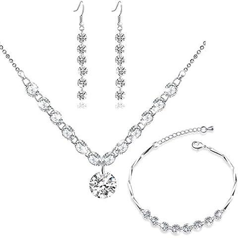 MARENJA Cristal-Regalos Navidad-Conjunto de Pendientes Collar y Pulsera Mujer Chapado en Oro Blanco Cristal
