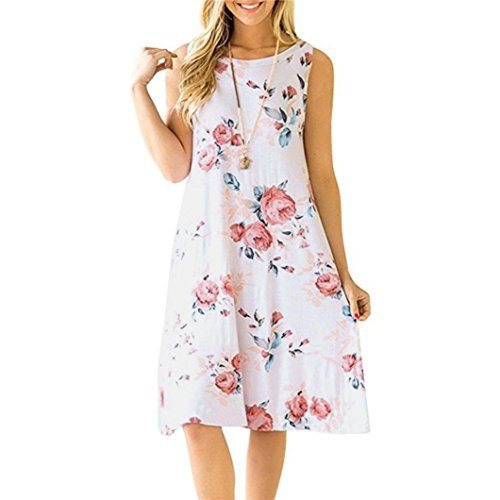 Yanhoo-Bekleidung Sommerkleider Knielang Frauen Armelloses Vintage Boho Maxi Blumendruck Abend Party Strand Geblümten Kleid