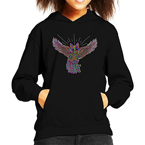 Rainbow Cat Angel Wings Sketch Kid's Hooded Sweatshirt (Angel Wings Hooded Sweatshirt)