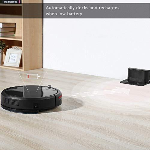 Deik Saugroboter, Staubsauger Roboter mit Zeitprogrammierung Funktion, 30 Watt Motor und 0,9 Liter Staubbehälter, Elektrobürste und Filter, geeignet für Tierhaare, Holzboden und Teppiche, Schwarz